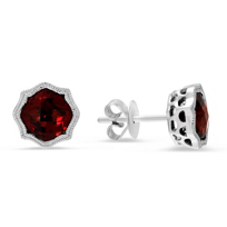 14K_White_Gold_Cushion_Garnet_Earrings_With_Milgrain_Bezel_Flourishes
