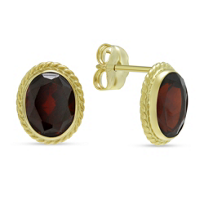 14K_Yellow_Gold_Oval_Garnet_Earrings