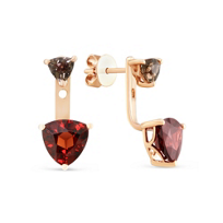 14K_Rose_Gold_Set_of_2_Trillion_Quartz_Post_Earrings_with_Removable_Trillion_Garnet_Drops