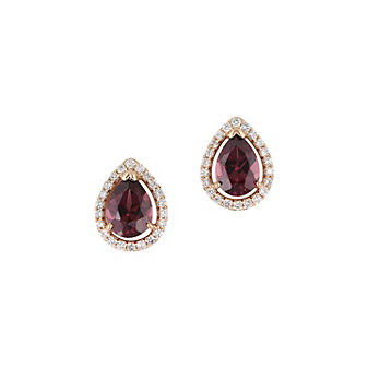 14K Rose Gold Diamond Halo & Rhodolite Garnet Pear Shaped Earrings