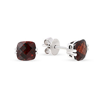 14K White Gold Checkerboard Cushion Garnet Earrings