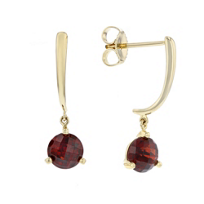 14k_yellow_gold_round_checkerboard_garnet_dangle_earrings