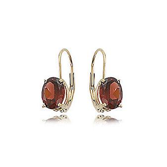 14k yellow gold oval garnet leverback drop earrings