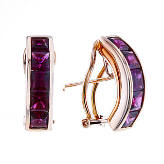 14k rose gold princess cut rhodolite garnet earrings