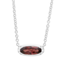 14K_White_Gold_Oval_Garnet_&_Round_Diamond_Necklace,_18""