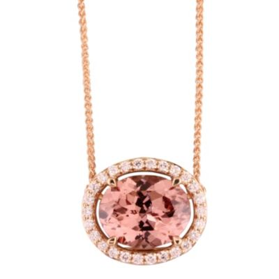 14K Rose Gold Diamond Halo and Oval Pink Garnet Pendant