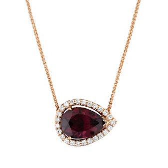 14K Rose Gold Diamond Halo & Rhodolite Garnet Sideways Pear Shaped Pendant