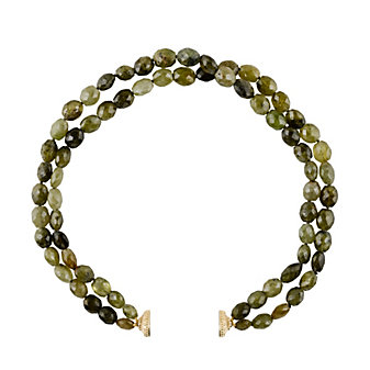 clara williams green garnet two stranded necklace, 16.5""