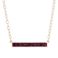 """14k_rose_gold_princess_cut_rhodolite_garnet_bar_necklace,_17"""""""