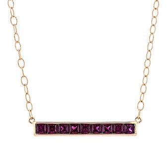 """14k rose gold princess cut rhodolite garnet bar necklace, 17"""""""