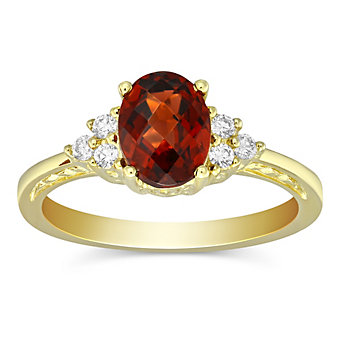 14K Yellow Gold Oval Checkerboard Garnet and Round Diamond Ring
