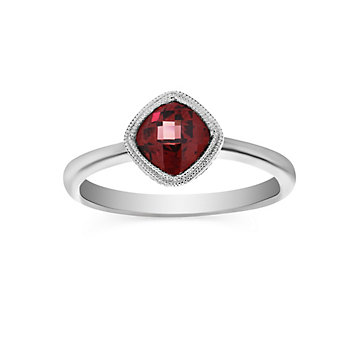 14K White Gold Cushion Checkerboard Garnet Ring, 6mm