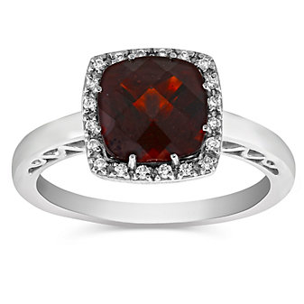 14K White Gold Checkerboard Cushion Garnet and Diamond Ring