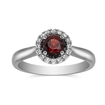 14K White Gold Round Garnet and Round Diamond Halo Ring