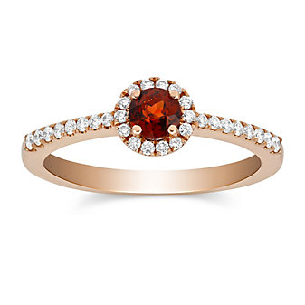 14K Garnet and Round Diamond Halo Ring
