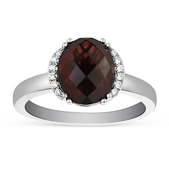 14K White Gold Oval Garnet and Round Diamond Ring.