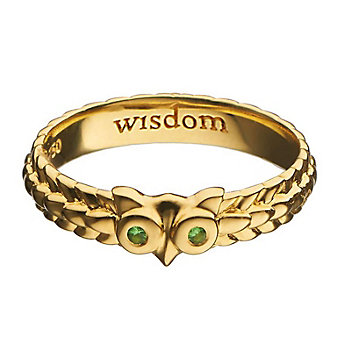 "Monica Rich Kosann 18K Yellow Gold ""Wisdom"" Owl Poesy Ring"