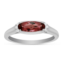 14K_White_Gold_Oval_Garnet_and_Round_Diamond_East_West_Ring