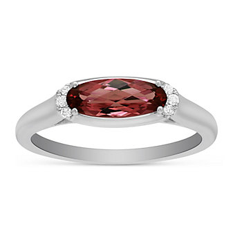 14K White Gold Oval Garnet and Round Diamond East West Ring