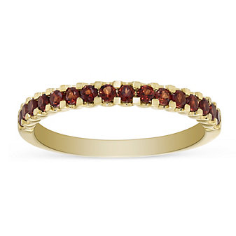14K Yellow Gold Round Garnet Band