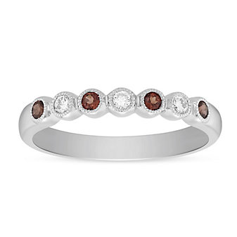 14K White Gold Round Garnet and Round Diamond Bezel Set Milgrain Ring