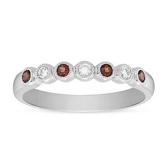 14K White Gold Round Garnet and Round Diamond Bezel Set Milgrain Ring