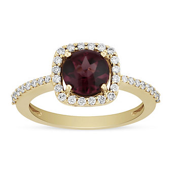 14K Yellow Gold Round Rhodolite Garnet and Diamond Cushion Halo Ring