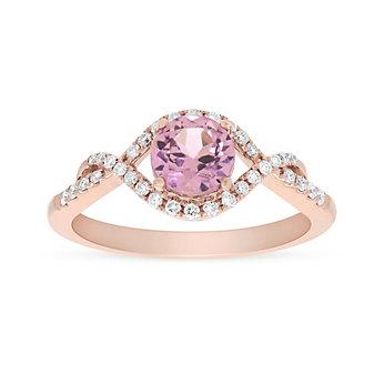 14k rose gold pink garnet and diamond twist pave ring