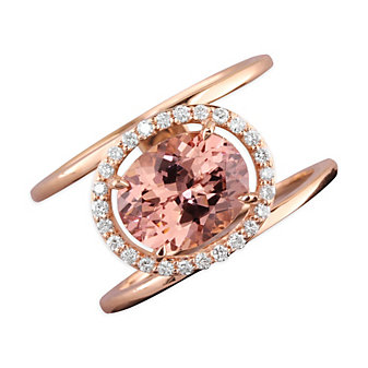14K Rose Gold Diamond Halo & Oval Pink Garnet Split Ring