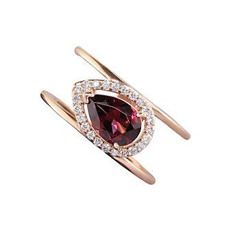 14K Rose Gold Diamond Halo & Pear Shaped Rhodolite Garnet Split Ring