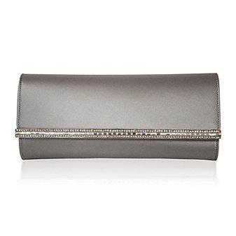 Judith Leiber Tuxedo Clutch, Silver Platinum