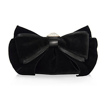 Judith Leiber Madison Black Velvet Bow Purse with Crystal Clasp and Chain