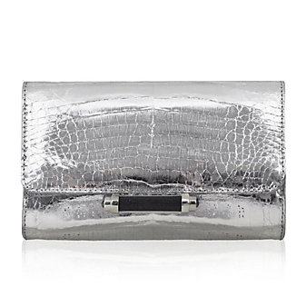Judith Leiber Silver Crocodile Clutch with Magnetic Closure