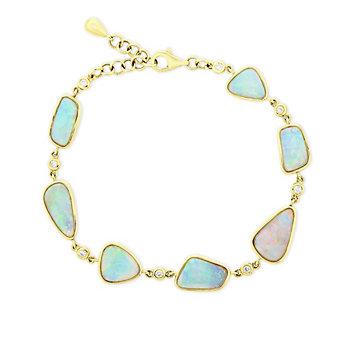 "14k yellow gold 7.5"" alternating opal & round diamond bracelet"