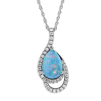 14K White Gold Pear Shape Opal and Round Diamond Pendant