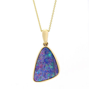 14k yellow gold opal doublet pendant