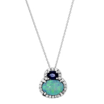 14K_White_Gold_Oval_Opal,_Sapphire_and_Diamond_Pendant