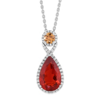 18K_White_Gold_Fire_Opal,_Garnet_and_Diamond_Pendant