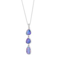 14K_White_Gold_Opal_Doublet_3-Drop_Bezel_Set_Pendant