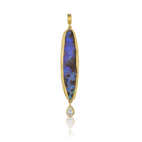 "24K_Yellow_Gold_Elongated_Boulder_Opal_and_Diamond_Pendant_with_36""_Oxidized_Sterling_Silver_Chain"