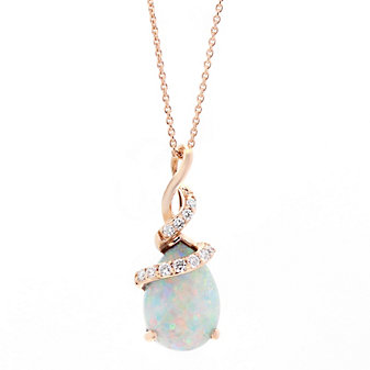 14k rose gold pear shaped opal and round diamond pendant