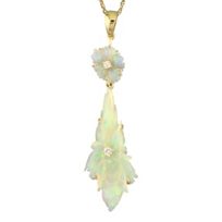 14K_Yellow_Gold_Diamond_&_Opal_Double_Drop_Flower_Pendant________________