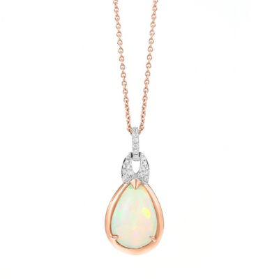 18k rose and white gold diamond opal pendant