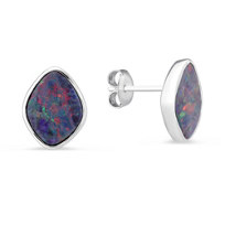 14K_White_Gold_Opal_Doublet_Bezel_Set_Post_Earrings