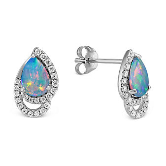 14K White Gold Pear Shape Opal and Round Diamond Earrings