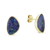 14K_Yellow_Gold_Opal_Triangle_Doublet_Bezel_Set_Post_Earrings