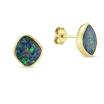 14K Yellow Gold Opal Doublet Bezel Set Post Earrings