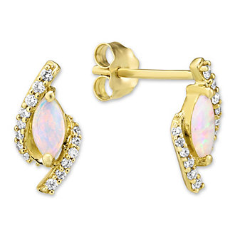 14K Yellow Gold Marquise Opal and Round Diamond Earrings
