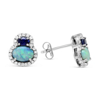 14K_White_Gold_Oval_Opal,_Sapphire_and_Diamond_Earrings