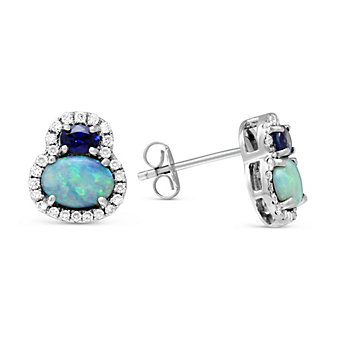 14K White Gold Oval Opal, Sapphire and Diamond Earrings